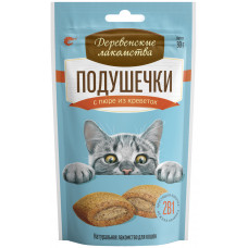 Деревенские лакомства  Подушечки для кошек с пюре из говядины,30гр